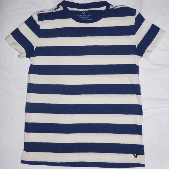 American Eagle Outfitters Tops - SHIRT AMERICAN EAGLE BLUE IVORY STRIPES TEE XS